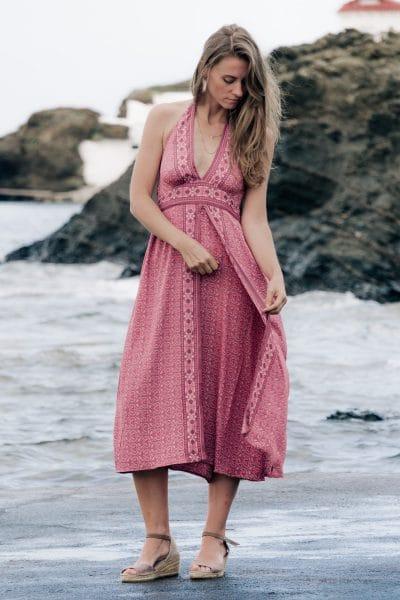 vestido boho rosa