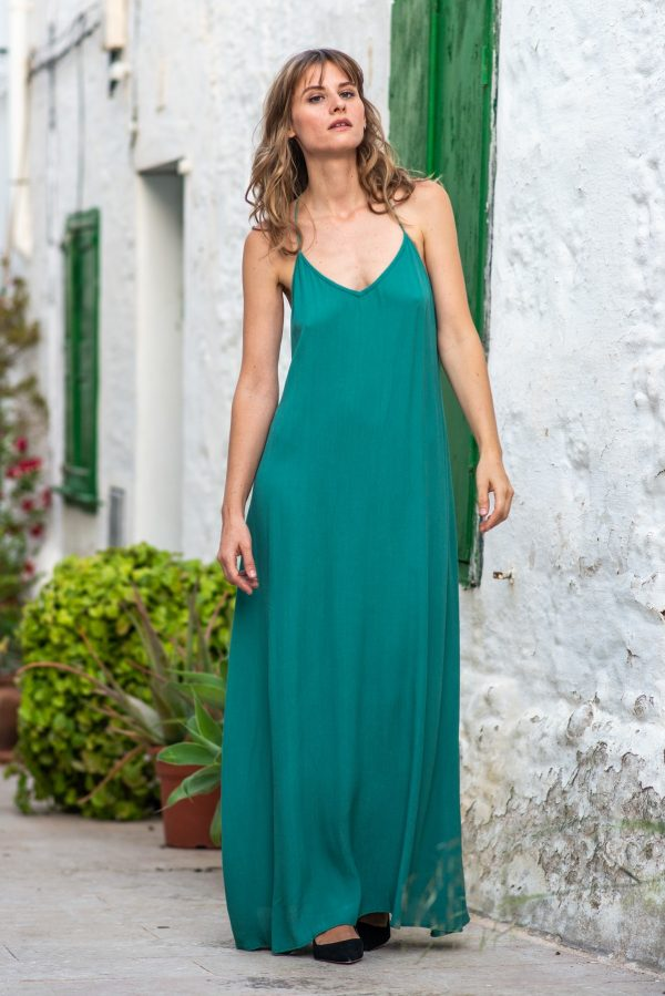 vestido de noche turquesa