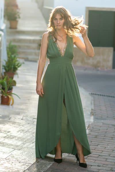 vestido de fiesta verde