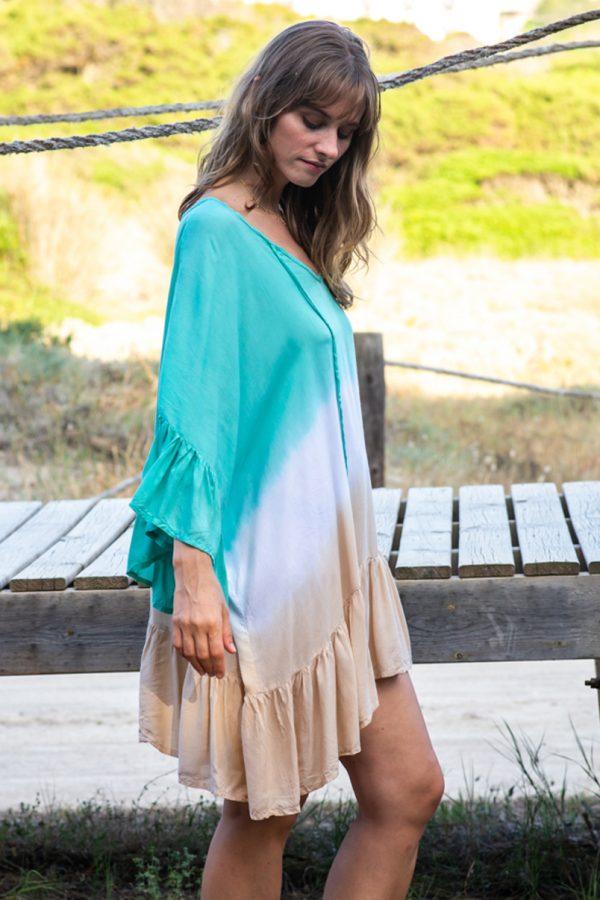 vestido poncho tie dye