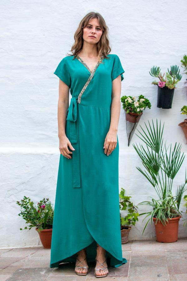 vestido de noche largo turquesa